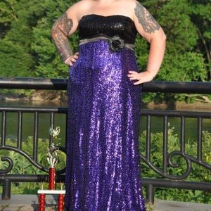 Black and purple sequin gown